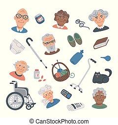 lägenhet, sätta, livsstil, sjukvård, elements., ikonen, porträtten, hjälp, folk, äldre, vektor, sjukvård, senior, home., illustration.