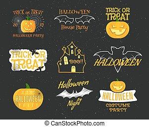 lägenhet, sätta, logos., elements., ikonen, halloween slagträ, pumpa, characters., märken, söt, vector., årgång, etiketter, annat, lycklig