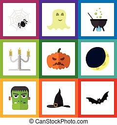 lägenhet, sätta, monster, elements., spinnare, halloween, pumpa, omfattar, också, vektor, objects., spöke, spindeldjur, ande, annat, ikon