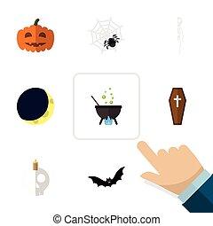 lägenhet, sätta, skrin, elements., måne, halloween, pumpa, omfattar, också, månskära, vektor, kalebass, magi, objects., annat, ikon