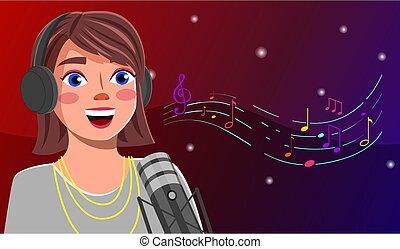lägenhet, sjung, flicka, sångare, microphone., levande, avbild, vektor, radioutsändning, blogger, subscribers.