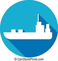 lägenhet, skepp, ikon