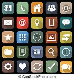 lägenhet, skugga, kontakta, länge, ikonen