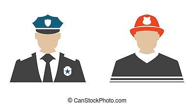lägenhet, skydda, polis, illustration., brandman, serve, vektor, tjänsteman, label., icon.