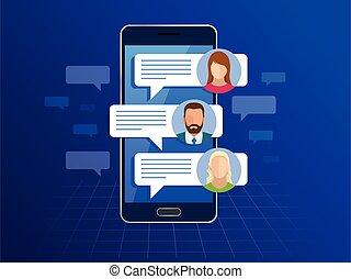 lägenhet, smartphone, service, meddelanden, concept., sms, illustration, kort, bubbles., vektor, anförande, chating, messaging, meddelande