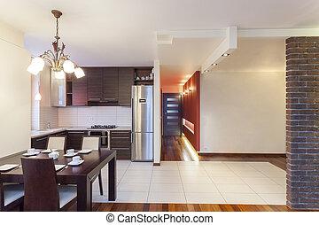 lägenhet, -, spatiös, kök