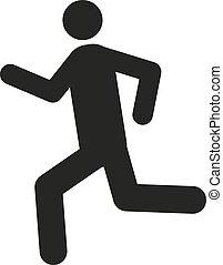 lägenhet, springa, symbol., spring, icon., man