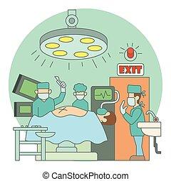 lägenhet, stil, begrepp, sjukhus, kirurgisk operation