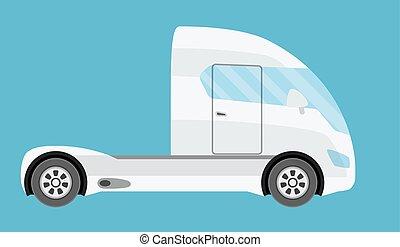 lägenhet, stil, elektrisk, halv-, isolated., stor, kommersiell, framtid, grön, lastbil, truck., teknologi, släpvagn