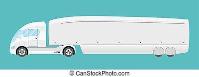 lägenhet, stil, elektrisk, halv-, isolated., stor, kommersiell, trailer., framtid, lastbil, grön, teknologi, släpvagn