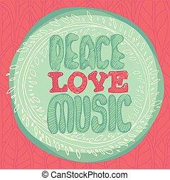 lägenhet, stil, emblem, illustration, fred, vektor, musik, kärlek, mynt