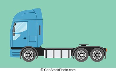 lägenhet, stil, halv-, isolated., stor, kommersiell, lastbil, truck., släpvagn