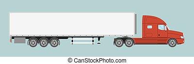 lägenhet, stil, halv-, isolated., stor, kommersiell, trailer., lastbil, släpvagn