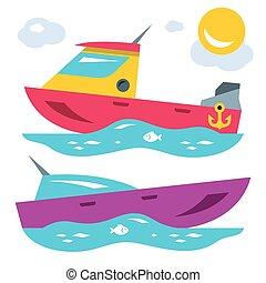 lägenhet, stil, illustration., färgrik, vektor, tecknad film, boats.