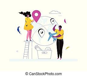 lägenhet, stil, omkring, färgrik, resa, -, illustration, design, värld