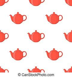 lägenhet, stil, pattern., seamless, illustration, vektor, tekanna, tecknad film, röd