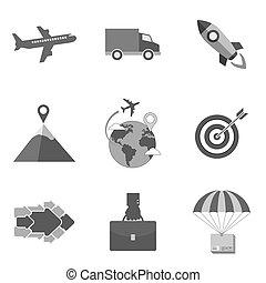 lägenhet, stil, sätta, affärsverksamhet ikon, isolerat, symboler, bakgrund., toppmodern, vit