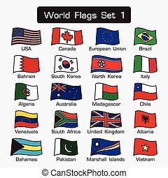 lägenhet, stil, sätta, skissera, enkel, 1, design, värld, flaggan, tät