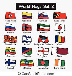 lägenhet, stil, sätta, skissera, enkel, 2, design, värld, flaggan, tät