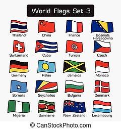 lägenhet, stil, sätta, skissera, enkel, 3, design, värld, flaggan, tät