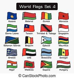 lägenhet, stil, sätta, skissera, enkel, design, 4, värld, flaggan, tät