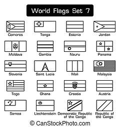 lägenhet, stil, sätta, skissera, enkel, design, 7, värld, flaggan, tät