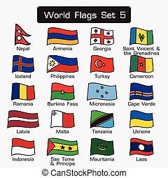lägenhet, stil, sätta, skissera, enkel, design, värld, flaggan, tät, 5