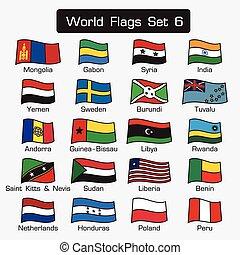 lägenhet, stil, sätta, skissera, värld, enkel, design, 6, flaggan, tät