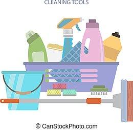 lägenhet, stil, vektor, tools., rensning