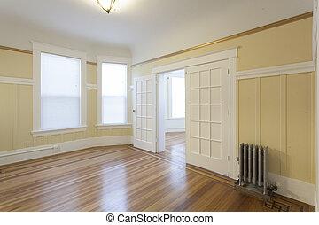 lägenhet, studio, ren, tömma rum