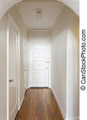 lägenhet, tom, gång