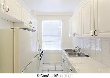 lägenhet, tom, ren, kök