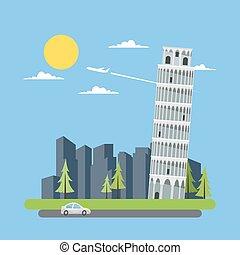 lägenhet, torn, design, pisa, böjelse