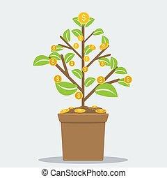 lägenhet, växt, begrepp, illustration., framgångsrik, kruka, dollar, pengar., investering, vektor, blomma, hem, symbol