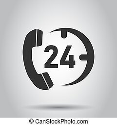 lägenhet, vektor, hjälp, service, klocka, teknisk understöd, illustration, style., ringa, dator, bakgrund., vit, 24/7, concept., ikon