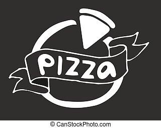 lägenhet, vektor, mall, logo, pizza, ikon