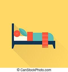 lägenhet, vektor, säng, ikon