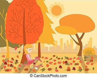 lägenhet, vektor, söt, krydda, träd, sova, höst, varm, under, flicka, teckning