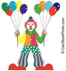 lägenhet, vektor, sväller, clown