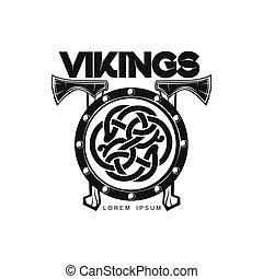 lägenhet, vikings, enkel, isolerat, vektor, logo, ikon