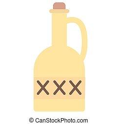 lägenhet, vit, gift, illustration, flaska