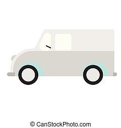 lägenhet, vit, skåpbil, illustration