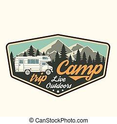 läger, trip., levande, outdoors., vektor, illustration.