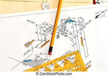 lägg i rör, diagram, instrument