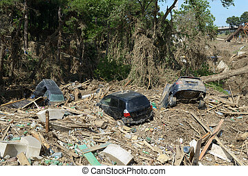 lägga, översvämning, skräp, katastrof, efter, bilar