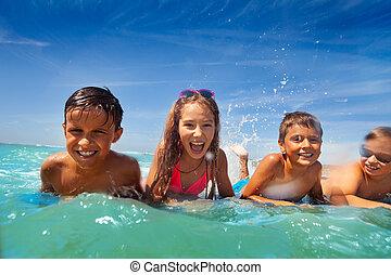 lägga, vatten, hav, grupp, lurar, simma, splah