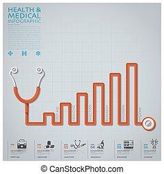 läkar diagram, infographic, stetoskop, hälsa, fodra