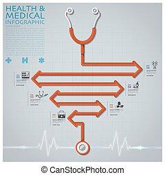 läkar diagram, infographic, stetoskop, pil, hälsa, fodra