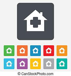 läkar signera, medicin, hem, icon., sjukhus, symbol