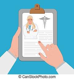 läkar tecknar uppe, begrepp, läkare